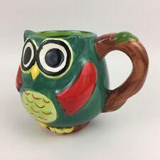 New listing Owl Figural Shaped Brown Green Red Hand Painted Coffee Tea Mug