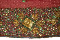 """Indian Sitara Dupatta Scarf Sequins Beaded Embroidered Georgette Veil Stole L"""""""