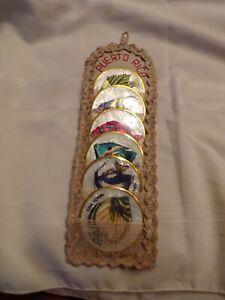 VTG Puerto Rico Coasters Hand Painted Shell