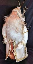 """Santa Christmas & doves, standing, fleece beard, white & gold coat, bag,15"""" tall"""