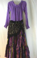 Gypsy Costume Dress Small 7-8 Headscarf Medium 10-12 Halloween Purple Black