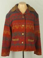 Woolrich Coat Size M Southwestern Red Yellow Green Wool Long Sleeves