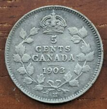 1903 H Canada 5 Cents Silver Coin Edward Half Dime Foreign Canadian VFEF Lot C33