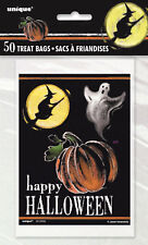 50 x Halloween Spooky Party Supplies Pumpkin Witch Trick Treat Loot Lolly Bags