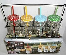 MASON JAR Drinking Glass CADDY SET 4 Glasses Lids & Straws Colors Summer