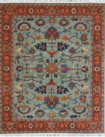8x10 Tribal Handknotted Fine Wool Rug Gray,Navy,Ivory,Blue, Red Color1/2'pl