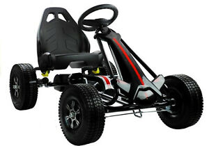 Kinder Go-Kart Racing Car Black Beast Speed Tretauto Gokart mit Luftireifen Cart
