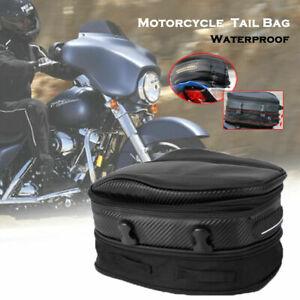 Waterproof Motorcycle Touring Rear Pillion Seat Tail Tank Bag Luggage Expandable