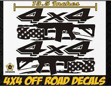 4x4 Truck Bed Decal Set GLOSS BLACK For Dodge Ram Dakota Tactical AR15 M4