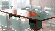 Boardroom Table In Walnut High Lacquer Finish with Green Leather Panels 3.5m