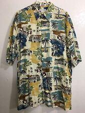 Pierre Cardin Coral Coast Button Down Shirt Short Sleeve Size L 100% Rayon
