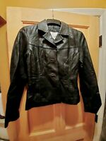 Vintage *Women's M* Wilson's Maxima Black Leather Jacket Simple No Frills EUC
