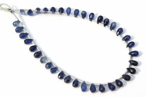 Natural Blue Sapphire Faceted Drops (Quality AA) Length 18 cm