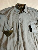 ROBERT GRAHAM Sage Green Cotton Blend Shiny Button Down Shirt Size XL Euc