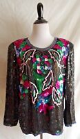 Vtg. 80's Black Silk Sequin & Bead Covered Indie Blouse Party Formal Shirt Top