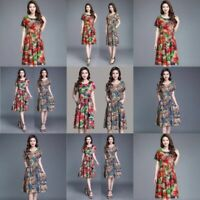 Womens Long Floral Fashion V Neck Casual Maxi Dresses summer Cocktail Women
