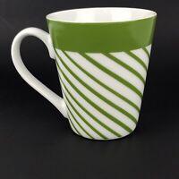 Morris National Inc Green White Striped Mug Coffee Tea Latte Cocoa Cup 11 fl oz