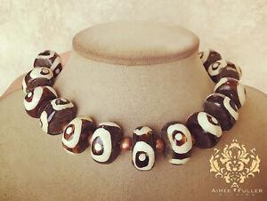 Zebra Eye Black White Tribal Bone Statement Necklace African Kenya Beads Copper