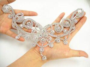 Rhinestone Wedding Costume Applique Neckline Crystal Trim Dancing Dress Motif