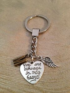 Memorial Key Ring with Initial, Heart and Angel's Wing - New!