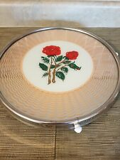 Vtg Vanity Tray Lazy Susan Red Roses Mirror Glass German Style Victorian 1930s
