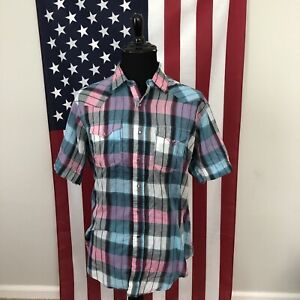 vtg 80s H Bar C Pearl Snap Western Shirt men's 17.5 XL pink made in usa 3e192p