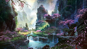 Japanese Abstract Painting - Colourful Landscape Large Canvas Picture 20x30 Inch