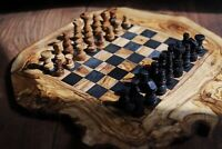 Handmade Olive Wood Rustic Chess Board Set With Free Pieces