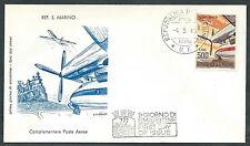 1965 SAN MARINO FDC FILAGRANO POSTA AEREA NO TIMBRO ARRIVO - RD15