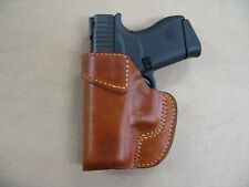 Leather 1 Slot Owb Belt Concealment Holster For Glock 43 9mm Ccw - Tan Lh