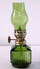 Vintage Miniature Emerald Green Flash Glass Oil Lamp w/Shade/Burner Complete