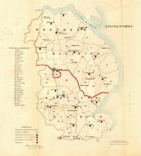 Lincolnshire county map. Divisions boroughs electoral. REFORM ACT. DAWSON 1832
