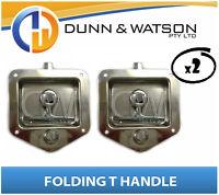 Recessed Stainless Folding T Lock / Handle (Trailer Caravan, Toolbox) Drop T x2
