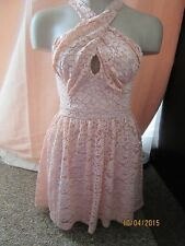 BNWT River Island Dress Size 8 £35 Pink Floral Lace Cut Out Chest Cross Over
