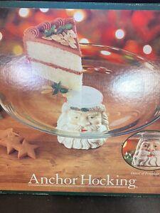 Vintage Anchor Hocking Christmas Santa Pedestal Cake Platter