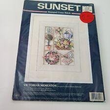 """Victorian Mementos Sunset Stamped Cross Stitch 11"""" x 14"""" Karen Zabroski 13092"""