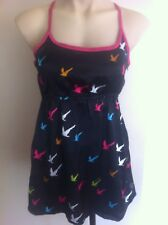 Ladies ROXY Black Top Size 14 Silky Spaghetti Strap Seagull Print Long Summer