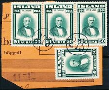 "Iceland Scott 242 x 4 on piece ""Number cancel 275"" used."