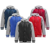 Men's Letterman Sports Raglan Jacket  Fleece Varsity Button Up Hoodie Sweatshirt