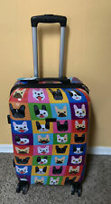 """French Bulldog Pop Art Vacation Rolling Spinner Suitcase Luggage  24"""" Jane Berry"""