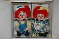"Marie Osmond Miracle Rrosie & Rags Raggedy Ann Porcelain Dolls 11"" Twins C23880"