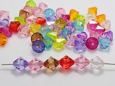 100 Mixed Colour Transparent Acrylic Faceted Bicone Spacer Beads 12X12mm