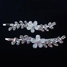 Bobby Pin Rhinestone Crystal Hair Clip Hairpin Flower Wedding Silver White 701