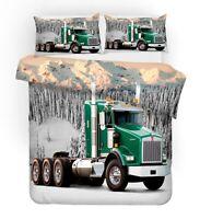 Gift Cool Truck Mountain Trees Skull Man Boy's Bedding Duvet Quilt Cover Set