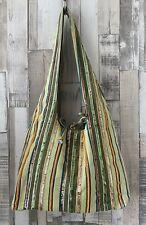Boutique Green Striped Sequin Cotton Hobo Bag Boho Hippie Style