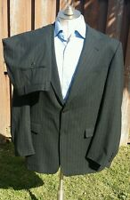 BURBERRY London Suit Mens 42L Charcoal Gray Stripe 2-Btn Jacket Pants 36w