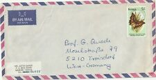 1988 Kenyaoversize cover from Nairobi to Troisdorf Germany
