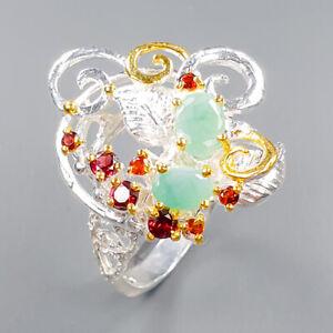 Fine Art Emerald Ring Silver 925 Sterling  Size 8.5 /R151289