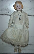Coquette Gerbruder Heubach 7850 Germany Bisque Shoulderhead Doll w/ Silver Cross