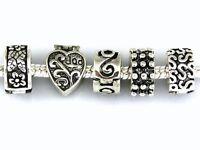10pcs Dark Silver /P Clip Lock Stopper Charms Beads Fit Bracelet, Choose Style